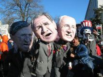 Donald Rumseld, George W. Bush and Dick Cheney joined the marchers.